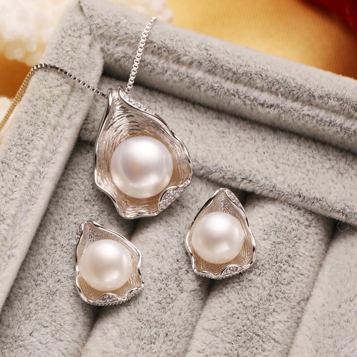 CNS Deals Women Jewelry Set Oyster Shell Ring Necklace Earrings Set Freshwater Pearl Sterling Silver