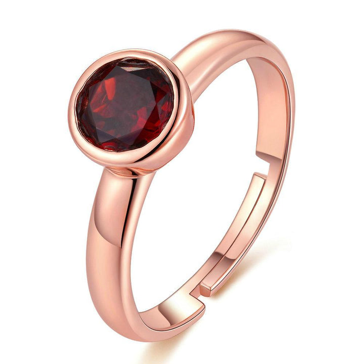 CNS Deals Women Ring Natural 6mm Garnet 18K Rose Gold Wedding Ring