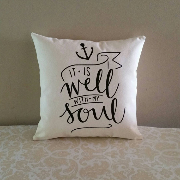 It is well with my soul | Hymn lyrics inspirational accent pillow