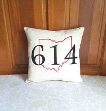 Area Code Pillow with State Outline