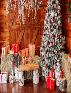 Christmas Tree Interior With Gifts Photography Backdrop J-0661