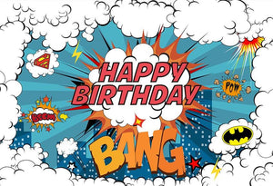 Super Hero Happy Birthday Background G-1056