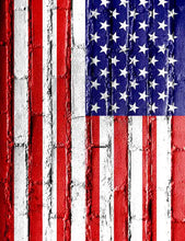 American Flag Printed On Brick Wall For Celebrate Independence Day Photography Fabric Backdrop - Shop Backdrop