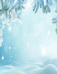 Beautiful Fir Tree Branch Covered With Snow Photography Backdrop N-0027 - Shop Backdrop