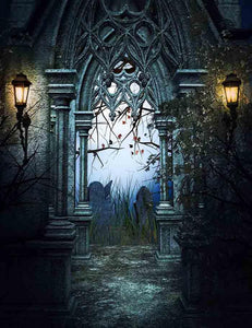 Dark Retro Castle Gates For Halloween Photography Backdrop