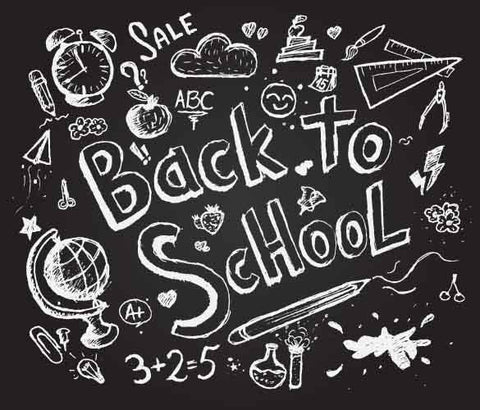 Drawn Back To School On Chalkboard Sketch Photography Backdrop J-0147