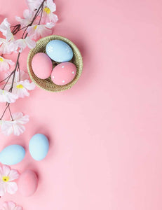 Easter Eggs And Flower On Pink Wood Floor For Baby Photography Backdrop - Shop Backdrop