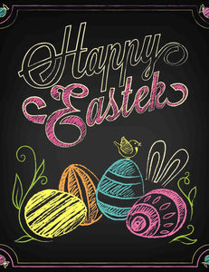 Easter Eggs Printed On Chalkboard For Baby Photography Backdrop - Shop Backdrop