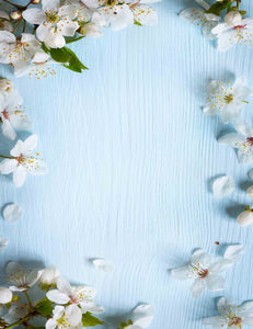 Cherry Flowers On Light Blue Wood Backdrop For Photography - Shop Backdrop