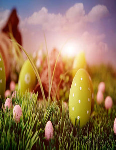 Green Eggs With White Dots On Grass And Bokeh Background For Holiday Backdrop