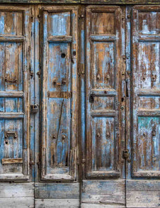 Grunge Blue Paint Off Wood Door Backdrop For Photography - Shop Backdrop