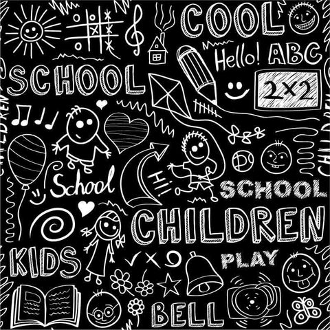 Hand Drawn Children Back To School On Blackboard Photography Backdrop  J-0153