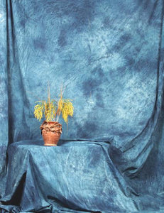 Hand Painted Abstract Steel Blue Muslin Backdrop For Studio Photo - Shop Backdrop