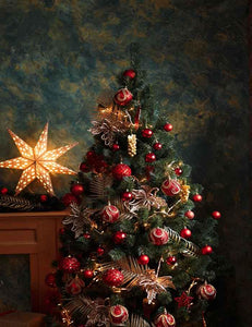 Interior Christmas Tree With Red Yellow Decorations Photography Backdrop J-0144