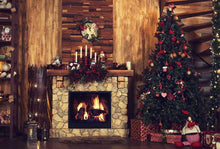 Interior Christmas With Fireplace Decorated Photography Backdrop N-0039