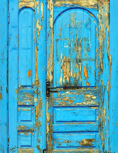 Old Blue Painted Wood Door With Forged Metal Handle Photography Backdrop