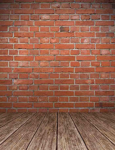 Old Red Brick Wall Texture With Wooden Floor Backdrop For Photography J-0301