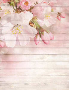 Pink Cherry Blossoms Printed On Wood Floor Backdrop
