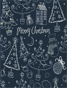 Painted Christmas On Blackboard For Holiday Photography Backdrop J-0262