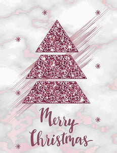 Painted Purple Christmas Tree On Marble Photography Backdrop  J-0426
