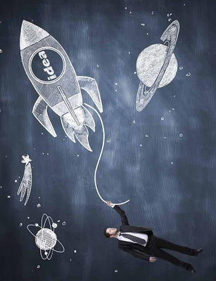 Painted Rocket And Planet On Chalkboard For Children Photo Backdrop