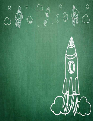 Painted Rockets On Green Chalkboard For Children Photography Backdrop J-0194