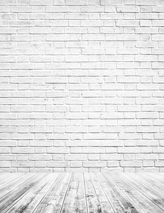 Printed Retro White Brick Wall Texture With Old Floor Photography Backdrop J-0325
