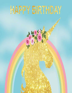 Rainbow Gold Unicorn Celebrate For Birthday Photography Backdrop lv-3000
