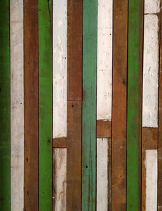 Retro Green White Wood Floor Printed Backdrop