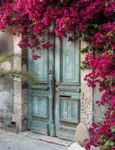 Retro Green Wood Door With Beautiful Flower Backdrop For Photo Studio