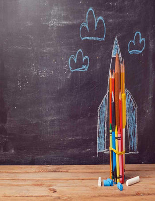 Rocket Made From Pencils  For Children Back To School Photography Backdrop