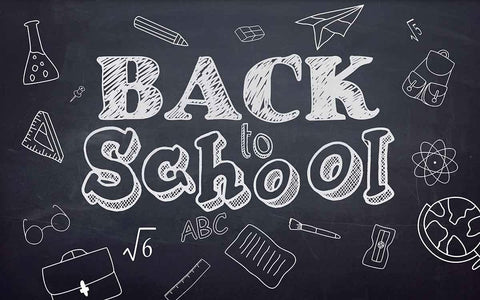 School Stationary Icons And Back To School Draw On Blackboard Photography Backdrop J-0190