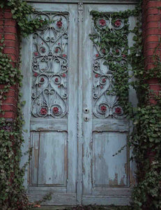 Senior Sky Blue Wood Door With Brick Wall Backdrop For Photohraphy