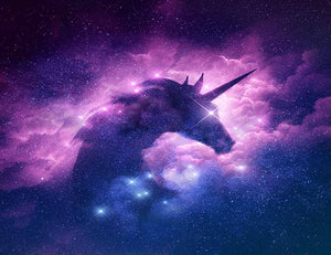 Unicorn Silhouette In Galaxy Nebula Cloud Photography Backdrop J-0196