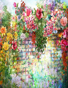 Watercolors Painted Flowers On Wall For Wedding Photography  Backdrop J-0337