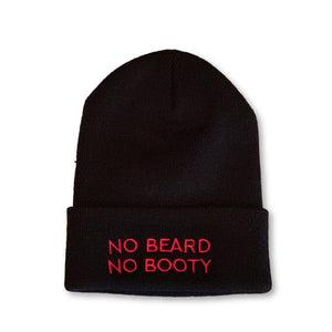 "THIGHBRUSH® Cuffed Beanies with ""NO BEARD, NO BOOTY"" Embroidered on the Front. Black with Hot Pink Thread/Stitching. One Size."