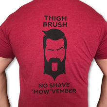 "LIMITED EDITION - THIGHBRUSH - No Shave ""MOW""vember - Men's T-Shirt - Cranberry and Black - THIGHBRUSH®"