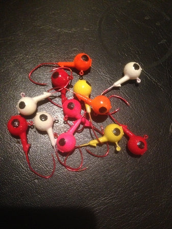 25 Painted 3/8oz Round Head Floating Jigs 2/0 Red Matzuo Sickle Hooks