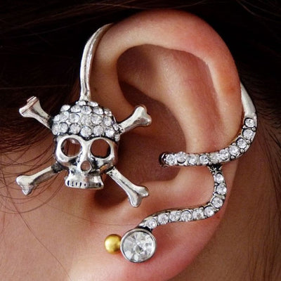 Cross Bone Skull Stud Earring