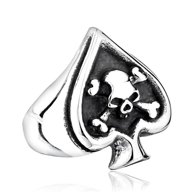 Spade Skull Gambler's Ring For Men
