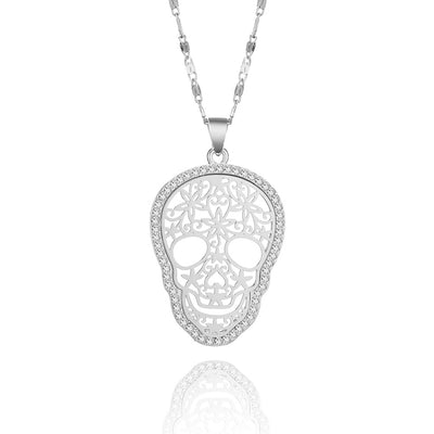 Crystal Candy Skull Necklace For Women
