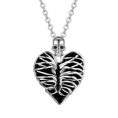 Heart And Skull Necklace For Women