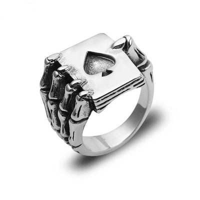 Poker Skull Claw Ring For Men