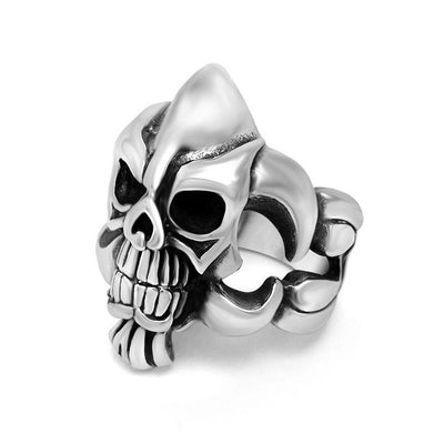 Edge Hollow Skull Ring For Men