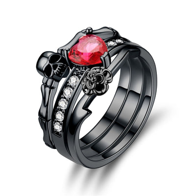 Rose Heart Skull Ring Set For Women