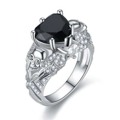 Heart And Flower Skull Ring For Women
