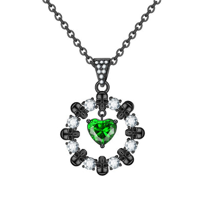 Heart And Crystal Wheel Skull Necklace For Women