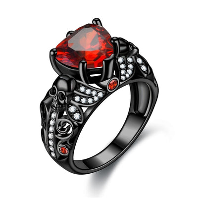Gothic Heart Skull Ring For Women