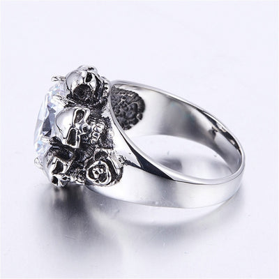 Hearts On Skulls Statement Ring For Women