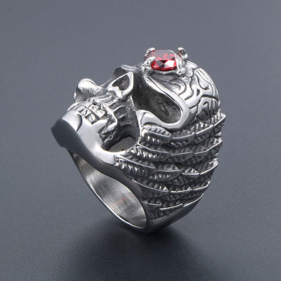 Red Crystal Skull Ring For Men